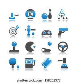 Set of 16 Arcade simple vector icons, including Air Hockey, Billiards, Bowling, Claw Machine, Darts, Foosball, Gamepad, Gun, Joystick, Pinball, Racing Game, Ping Pong, Slot Machine, etc.