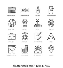Set Of 16 Architecture and Travel linear icons such as Airport, Angkor wat, Apartments, Arc de triomphe, Arch, Brandenburg, Beach ball, Baggage, Beach, editable stroke icon pack, pixel perfect