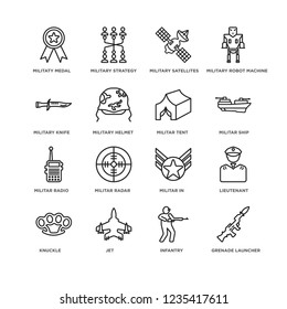 Set Of 16 army and war linear icons such as Grenade Launcher, Infantry, Jet, Knuckle, lieutenant, Militaty Medal, Military Knife, Militar Radio, Tent, editable stroke icon pack, pixel perfect