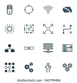 Set Of 16 Artificial Intelligence Icons. Includes Recurring Program, Mechanism Parts, Hive Pattern And Other Symbols. Beautiful Design Elements.