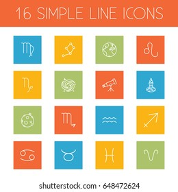 Set Of 16 Astrology Outline Icons Set.Collection Of Globe, Moon, Cancer And Other Elements.