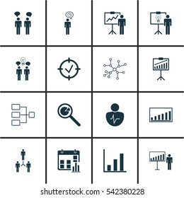 Set Of 16 Authority Icons. Includes Special Demonstration, Bar Chart, Approved Target And Other Symbols. Beautiful Design Elements.