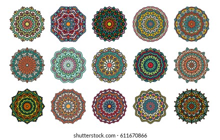 Set Of 16 Beautiful Mandalas. Vector Ethnic Oriental Circle Ornaments. Design Elements