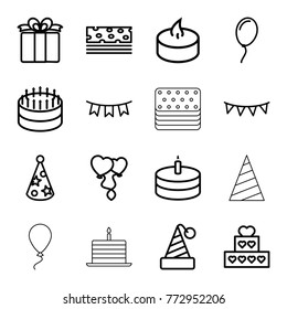 Set of 16 birthday outline icons such as cake, party hat, piece of cake, heart balloons, present, party flag, candle, balloon
