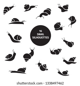 Set of 16 black snail silhouettes on white background. Cute vector isolated hand drawn snails for your design. Simple modern illustration