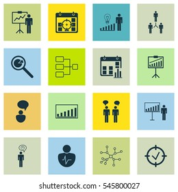 Set Of 16 Board Icons. Includes Project Presentation, Conversation, Report Demonstration And Other Symbols. Beautiful Design Elements.