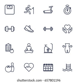Set Of 16 Bodybuilding Outline Icons Set.Collection Of Health Care, Stopwatch, Calendar And Other Elements.