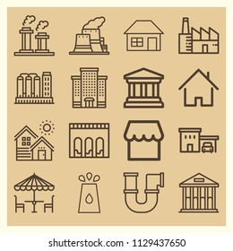 Set of 16 buildings outline icons such as building, house outline, house, store, roof, small house, nuclear plant, dinner table, refinery, museum, factory, pipe