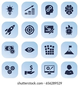 Set Of 16 Business Icons Set.Collection Of Bulb, Thinking Head, Intelligence And Other Elements.