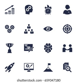 Set Of 16 Business Icons Set.Collection Of Call Center, Meeting, Achievement And Other Elements.