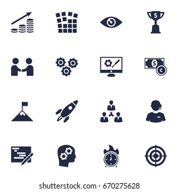 Set Of 16 Business Icons Set.Collection Of Rocket, Meeting, Call Center And Other Elements.
