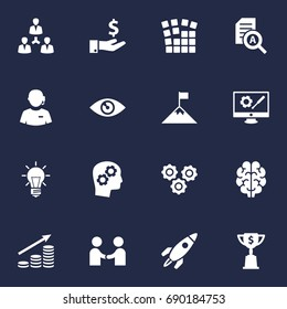 Set Of 16 Business Icons Set.Collection Of Vision, Call Center, Document Checking And Other Elements.