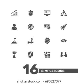 Set Of 16 Business Icons Set.Collection Of Repair Service, Time In Fire, Rocket And Other Elements.