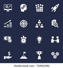 Set Of 16 Business Icons Set.Collection Of Gear, Startup Building, Bulb And Other Elements.