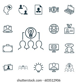 Set Of 16 Business Management Icons. Includes Cooperation, Global Work, Collaborative Solution And Other Business Management Icons Symbols. Beautiful Design Elements.