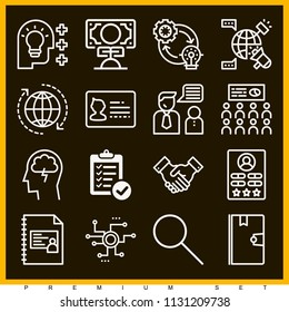 Set of 16 business outline icons such as id card, verification of delivery list clipboard symbol, presentation, idea, search, globe, brainstorm, strategy, profile, money - Shutterstock ID 1131209738