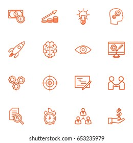 Set Of 16 Business Outline Icons Set.Collection Of Development, Research, Working Process And Other Elements.
