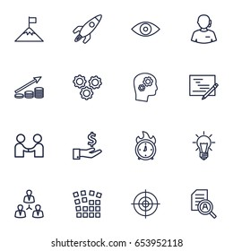 Set Of 16 Business Outline Icons Set.Collection Of Support, Deadline, Working Process And Other Elements.