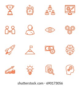 Set Of 16 Business Outline Icons Set.Collection Of Working Process, Deadline, Development And Other Elements.