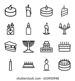 Set of 16 candle outline icons such as candles, tea light