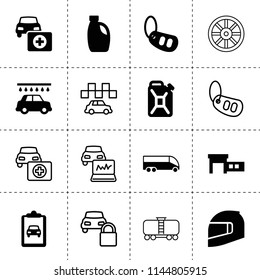 Set of 16 car filled and outline icons such as car oil, oil can, motorcycle helmet, bus, whell, taxi
