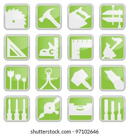 Set of 16 carpentry tool icons illustration