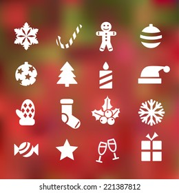 set of 16 christmas flat icons on abstract background