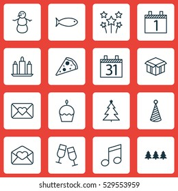 Set Of 16 Christmas Icons. Can Be Used For Web, Mobile, UI And Infographic Design. Includes Elements Such As Birthday Cake, Date, Winter And More.