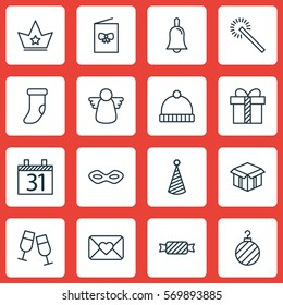 Set Of 16 Christmas Icons. Includes Date, Open Cardboard, Gift And Other Symbols. Beautiful Design Elements.