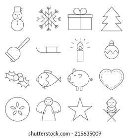 Set of 16 Christmas line icons in grey.