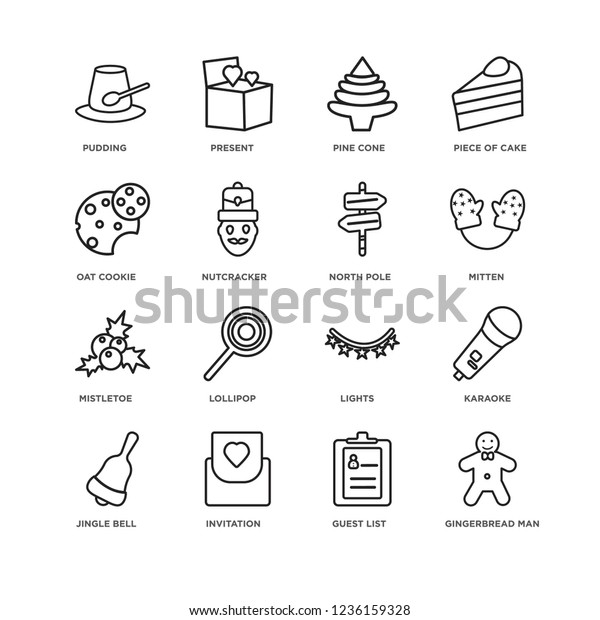 Set 16 Christmas Linear Icons Such Stock Vector Royalty