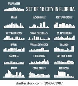 Set of 16 City Silhouette in Florida ( Tallahassee, Miami, Naples, St Petersburg, West Palm Beach, Daytona Beach, Fort Lauderdale, Orlando, Jacksonville, Fort Myers, Tampa, Sarasota, Pensacola )