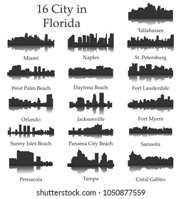 Set of 16 City Silhouette in Florida ( Tallahassee, Miami, Naples, St Petersburg, West Palm Beach, Daytona Beach, Fort Lauderdale, Orlando, Jacksonville, Fort Myers, Tampa, Sarasota, Pensacola )