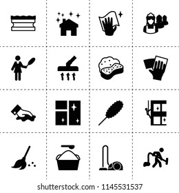 Set of 16 cleaner filled icons such as broom, sponge, wiping, clean window, skycrapers cleaning, vacuum cleaner, wipe, house clean, washing powder, dust brush