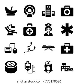 Set of 16 clinic filled icons such as baby basket, first aid, first aid kit, hospital, blod pressure tool, drop counter, mri, medical sign, nurse, dental chair, sperm