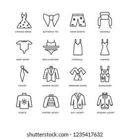 Set Of 16 Clothes linear icons such as jogging jacket, suit puffer Fleece, Dungarees, vintage dress, Baby Grow, Cravat, Camisole, editable stroke icon pack, pixel perfect