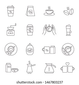 Set of 16 coffee icons. Vector thin line icons for coffeeshop. Isolated icons on white background. EPS 10 vector illustration.