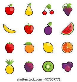 Set of 16 colorful fruit icons with black outline.