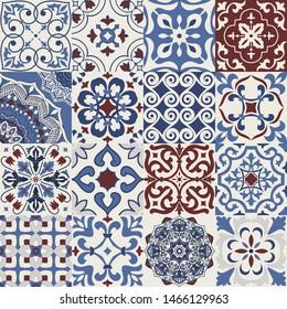 Set of 16 colorful tiles Azulejos. Traditional Portuguese or Spain decor. Seamless patchwork tile. Islam, Arabic, Indian, Ottoman motifs. Ceramic tile in talavera style. Gaudi mosaic. Boho pattern