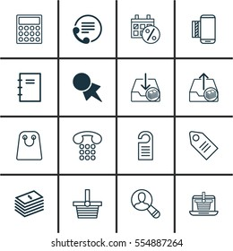 Set Of 16 Commerce Icons. Includes Telephone, Discount Coupon, Outgoing Earnings And Other Symbols. Beautiful Design Elements.
