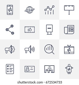 Set Of 16 Commercial Outline Icons Set.Collection Of Brand Awareness, Newspaper, Advertising Agency Elements.
