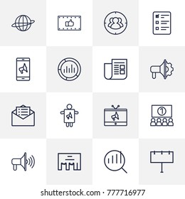 Set Of 16 Commercial Outline Icons Set.Collection Of Brand Awareness, Newspaper, Market Elements.
