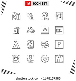 Set of 16 Commercial Outlines pack for constructing; building; marketing; crane; gong Editable Vector Design Elements