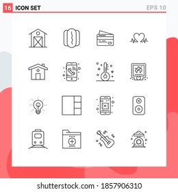 Set of 16 Commercial Outlines pack for house; wedding; card; heart; heartbeat Editable Vector Design Elements