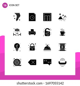 Set of 16 Commercial Solid Glyphs pack for dinner; beach; calculation; farming; mountain Editable Vector Design Elements
