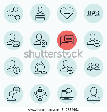 Set 16 Communication Icons Includes Online Stock Vector Royalty