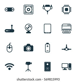 Set Of 16 Computer Hardware Icons. Includes Chip, Music, Web Camera And Other Symbols. Beautiful Design Elements.