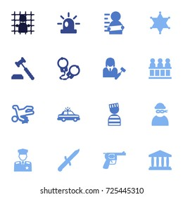 Set Of 16 Crime Icons Set.Collection Of Jail, Thief, Prisoner And Other Elements.