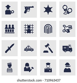 Set Of 16 Criminal Icons Set.Collection Of Police Car, Jury, Truck And Other Elements.