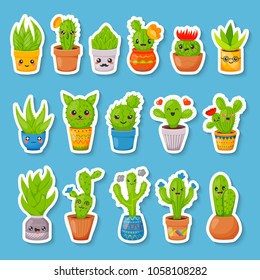 Set of 16 cute cartoon cactus and succulents stickers. Kawaii cactuses with funny faces in various pots